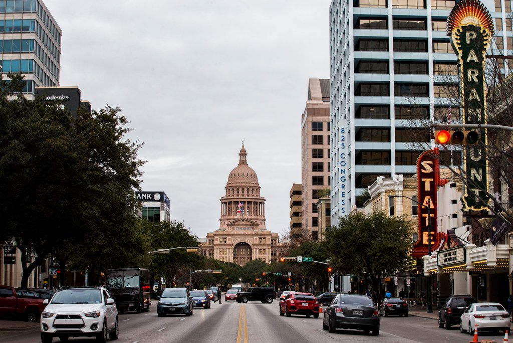 The Texas state Capitol, as seen from the intersection of Congress Avenue and 7th Street.