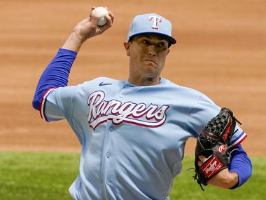 Texas Rangers pitcher Kyle Gibson delivers during the fourth inning against the Baltimore Orioles at Globe Life Field on Sunday, April 18, 2021. (Smiley N. Pool/The Dallas Morning News)