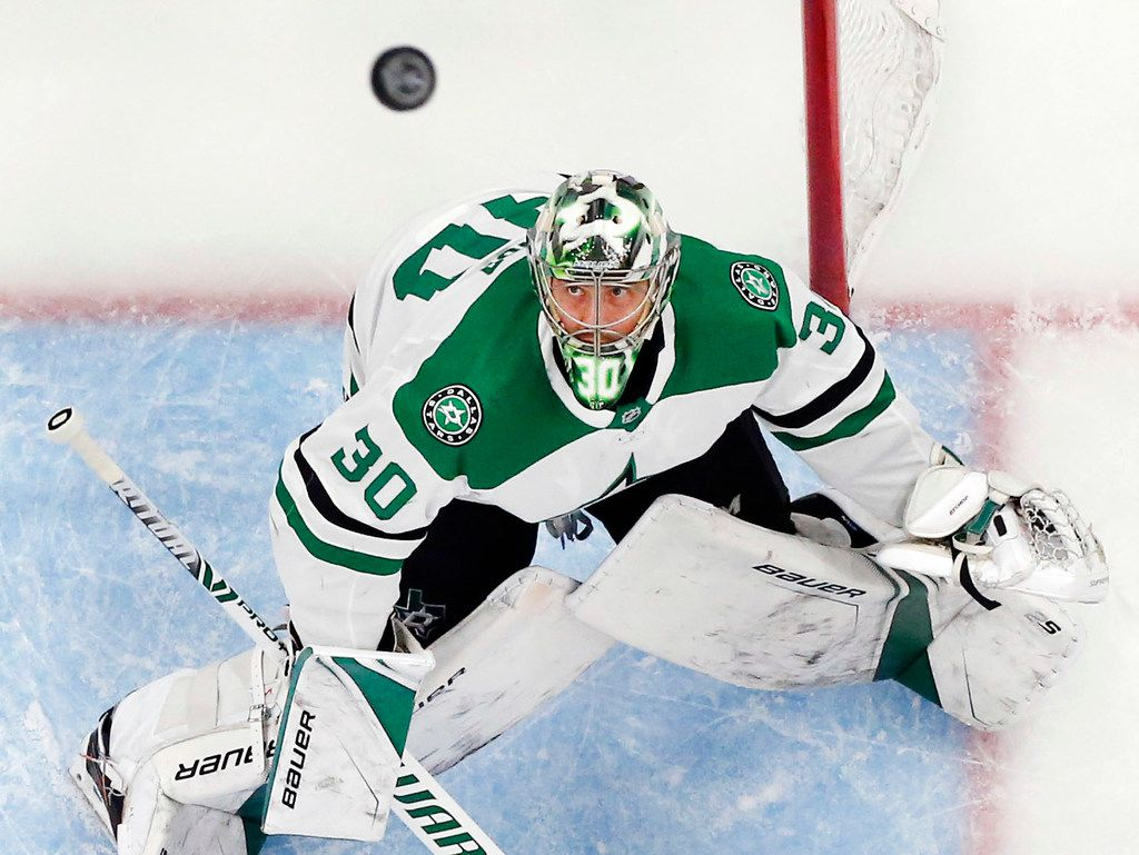 Dallas Stars goaltender Ben Bishop (30) eyes the puck during a game against the St. Louis Blues the Enterprise Center in St. Louis, Tuesday, May 7, 2019. The Dallas Stars lost, 2-1. The teams were playing in the Western Conference Second Round Game 7 of the 2019 NHL Stanley Cup Playoffs.