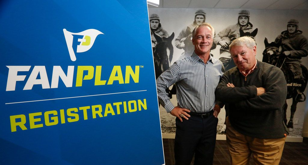 Former Dallas Cowboy fullback Daryl Johnston, left,  and Terry Leiweke, president of Ally Sports Group, are offering college football fans an indemnity plan called Fan Plan that offers price protection if their teams make it to the football championship. Photographed at the National Football Foundation office in Irving, Texas, Wednesday October 11, 2017. (Ron Baselice/The Dallas Morning News)
