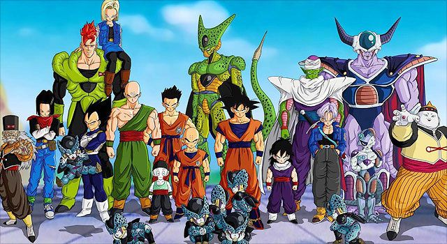 A group of characters from the Japanese anime 'Dragon Ball Z.'