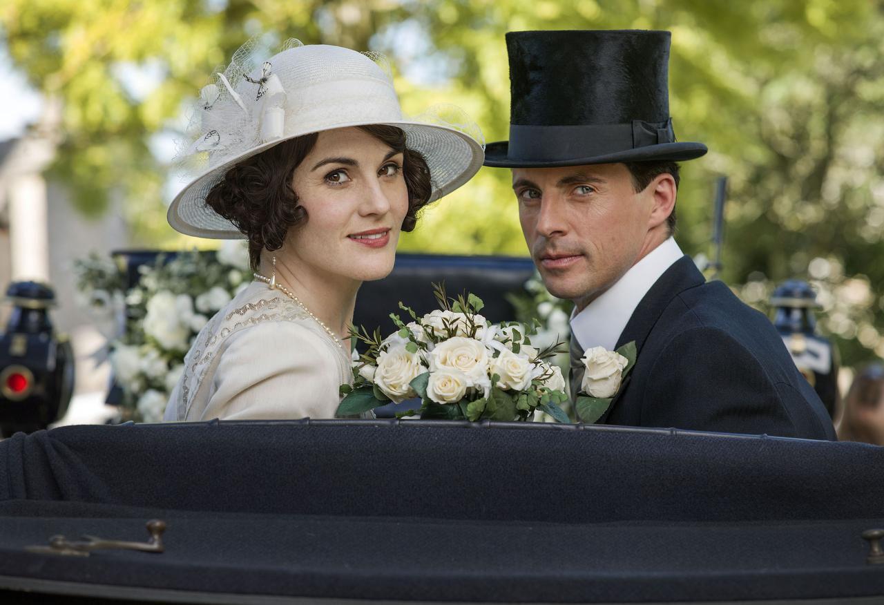 """Michelle Dockery es Lady Mary y Matthew Goode es Henry Talbot en una escena de la temporada final de """"Downton Abbey"""". (AP/NICK BRIGGS)"""