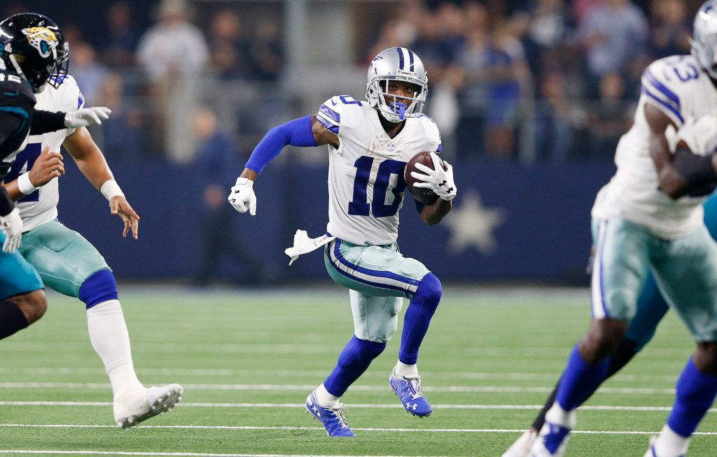 Dallas Cowboys wide receiver Tavon Austin (10) runs up the field on an end around play in a game against the Jacksonville Jaguars during the second half of play at AT&T Stadium in Arlington, Texas on Sunday, October 14, 2018. Dallas Cowboys defeated the Jacksonville Jaguars 40-7. (Vernon Bryant/The Dallas Morning News)