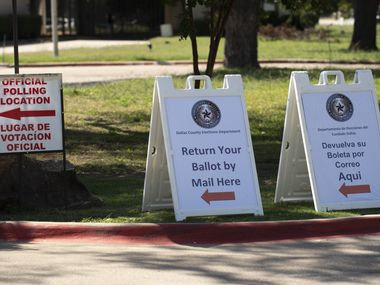 Signage outside of the Dallas County Elections Operations Facility in Dallas is pictured on Oct. 5. Ben Torres/Special Contributor