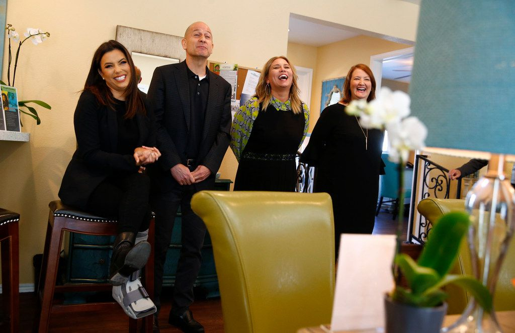 From left: Eva Longoria, Bobby Turner, principal and chief executive officer; Christine Schoellhorn, president; and Carrie Polonsky, vice president of talent services, visited Legends on Lake Highlands.