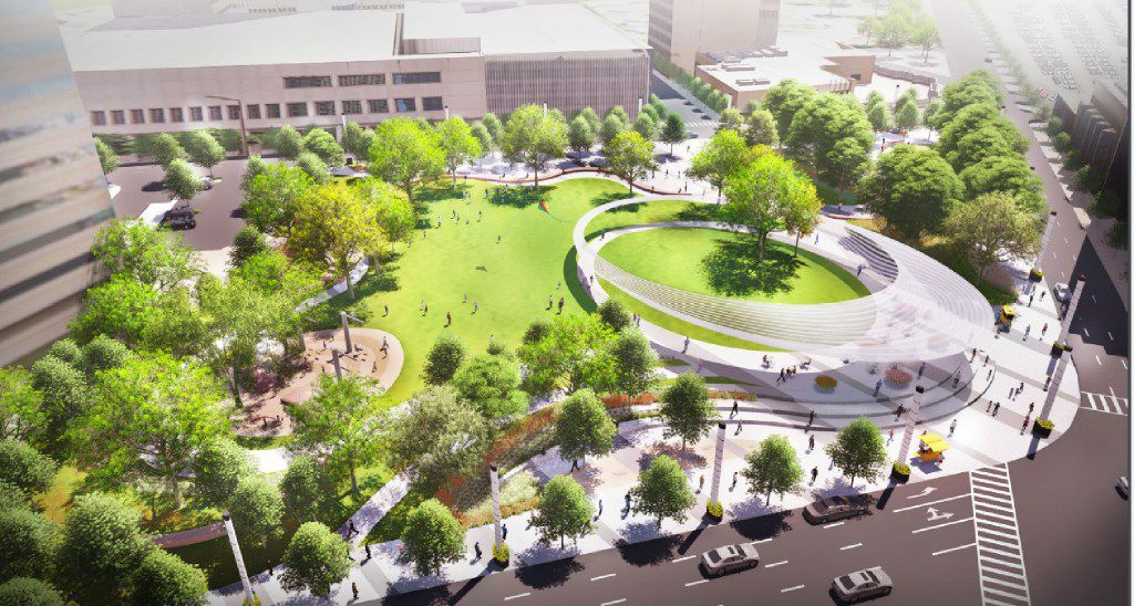 A rendering of Parks for Downtown Dallas' plan for a new park at Pacific Plaza in Downtown Dallas.