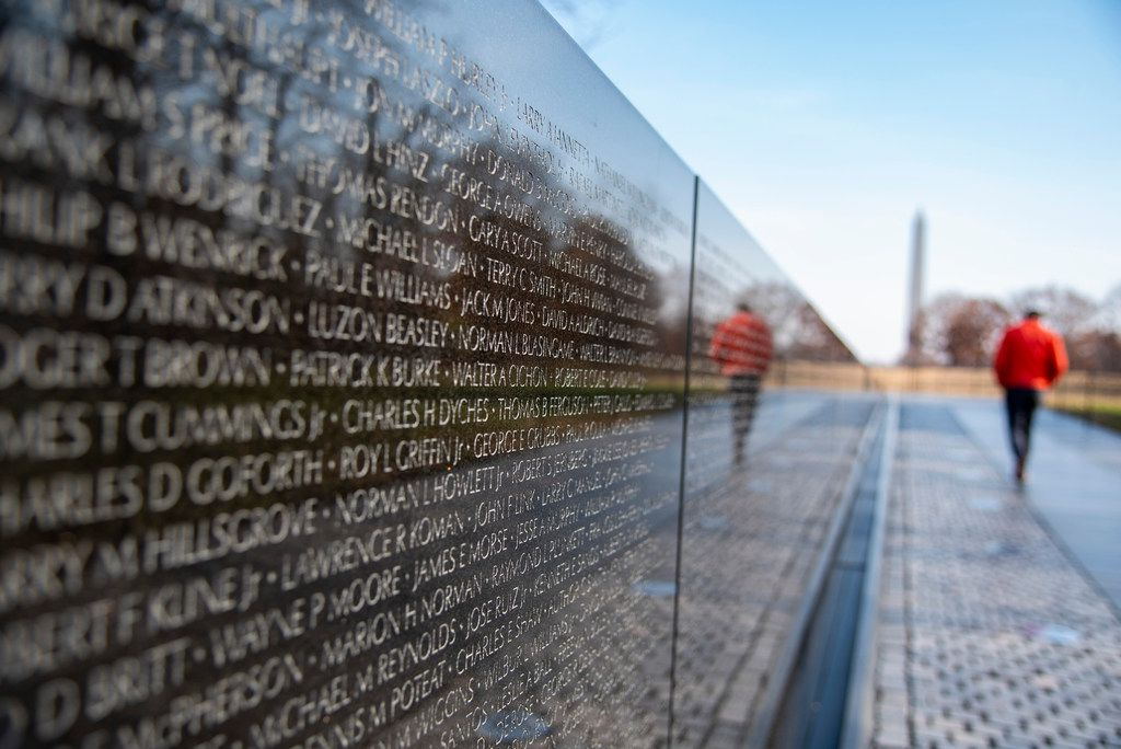 The Vietnam Veterans Memorial is inscribed with the names of more than 50,000 Americans killed in the war.