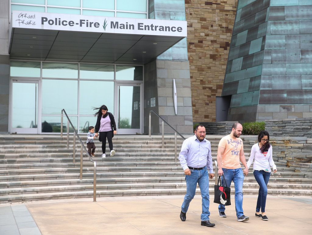 Relatives of Weltzin Garcia Mireles, who was found dead in Mountain Creek Lake after being missing for two months, left Grand Prairie police headquarters after meeting with investigators Thursday.