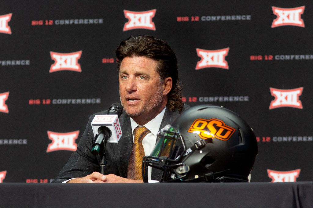 Oklahoma State University head football coach Mike Gundy speaks during the Big 12 Conference Media Days event at the AT&T Stadium in Arlington, Texas, Monday, July 15, 2019. (Lynda M. Gonzalez/The Dallas Morning News)