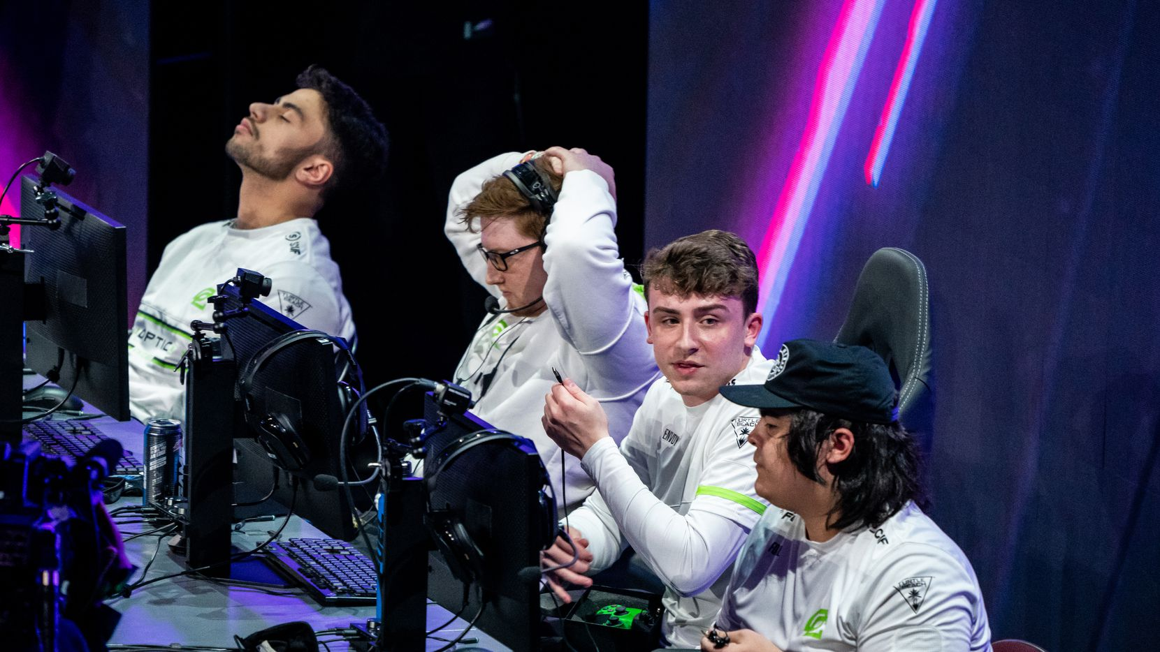 """From left, Brandon """"Dashy"""" Otell, Seth """"Scump"""" Abner, Dylan """"Envoy"""" Hannon, and Matthew """"FormaL"""" Piper of OpTic Chicago react to their loss to Toronto Ultra and elimination from the Call of Duty league playoffs at Galen Center on Friday, August 20, 2021 in Los Angeles, California. (Justin L. Stewart/Special Contributor)"""