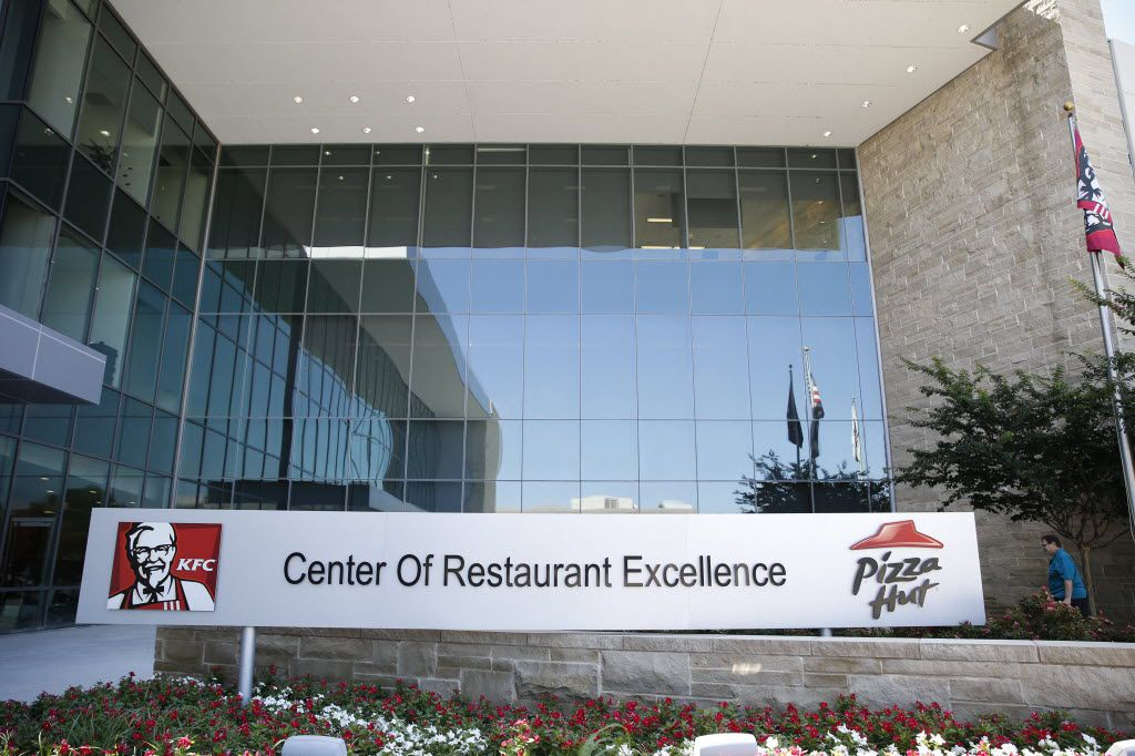 The main entrance at Pizza Hut's corporate office in Plano.