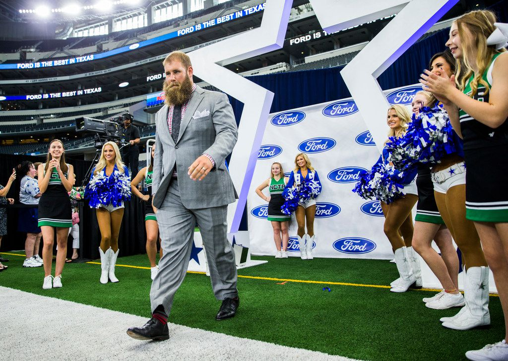 Dallas Cowboys center Travis Frederick (72) enters the field during the 2019 Dallas Cowboys Kickoff Luncheon on Wednesday, August 28, 2019 at AT&T Stadium in Arlington. The luncheon benefitted the Dallas Cowboys Charity House at Happy Hill Farms.