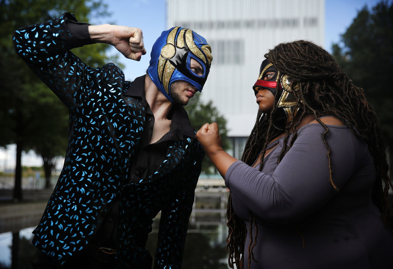 """""""Lucha Teotl"""" leads Dylan Cantu and Tiffany Lang play a mixed-gender tag team from rival families vying for the championship. Lang has since left the production."""