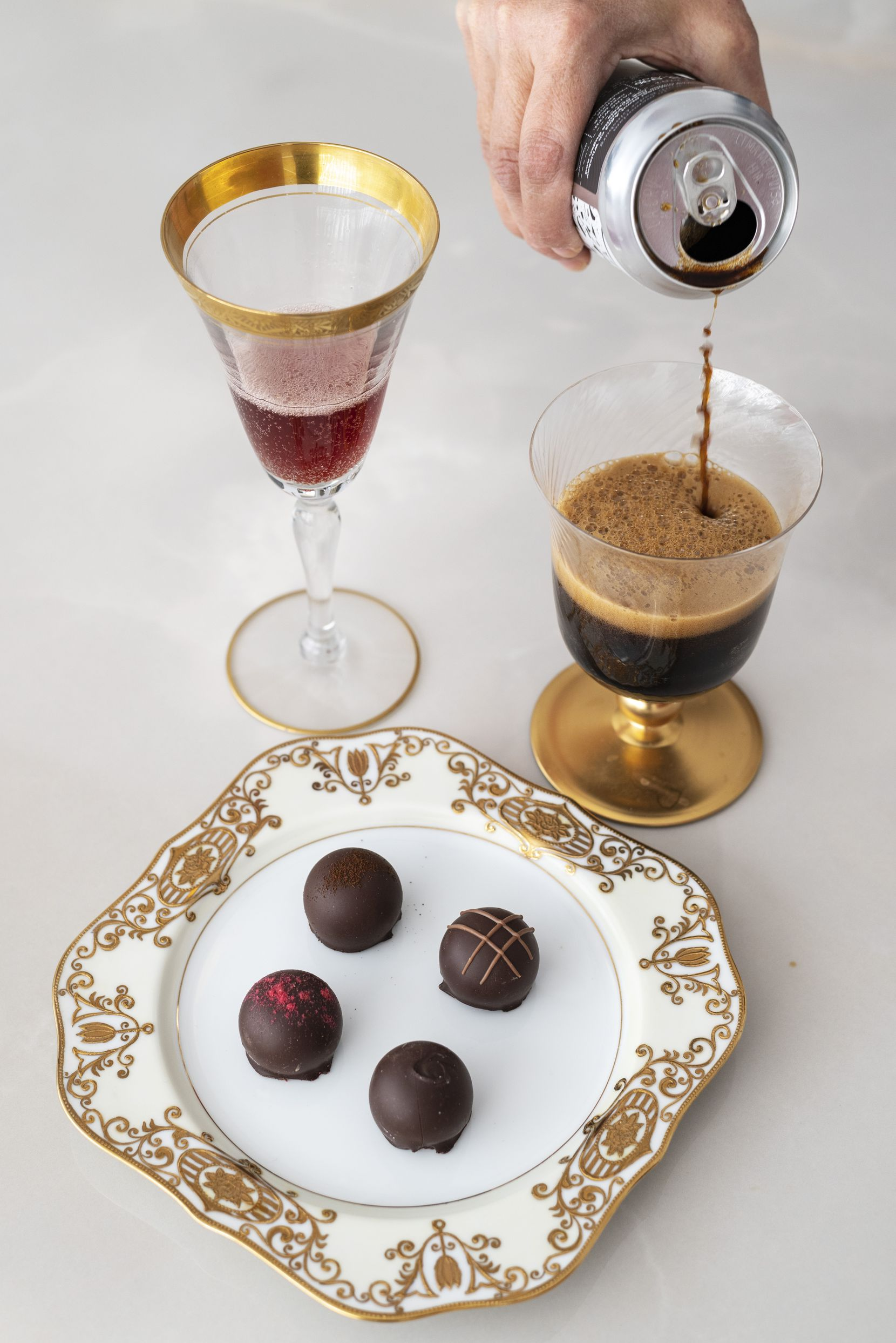 Chocolate truffles with Banfi Rosa Regale DOCG and 903 Brewers' Fragile Like a Bomb Imperial Oatmeal Stout
