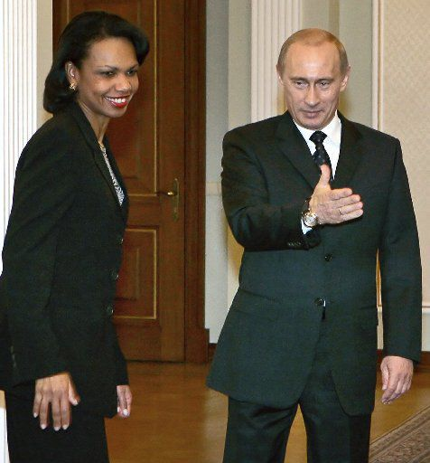 Secretary of State Condoleezza Rice met with Russian leader Vladimir Putin for talks in Russia in 2005. (File Photo/The Associated Press)