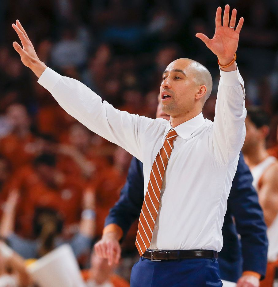 FILE - Texas head coach Shaka Smart works the sideline during the second half of a matchup against Texas A&M in the Lone Star Showdown on Sunday, Dec. 8, 2019, at Dickies Arena in Fort Worth.