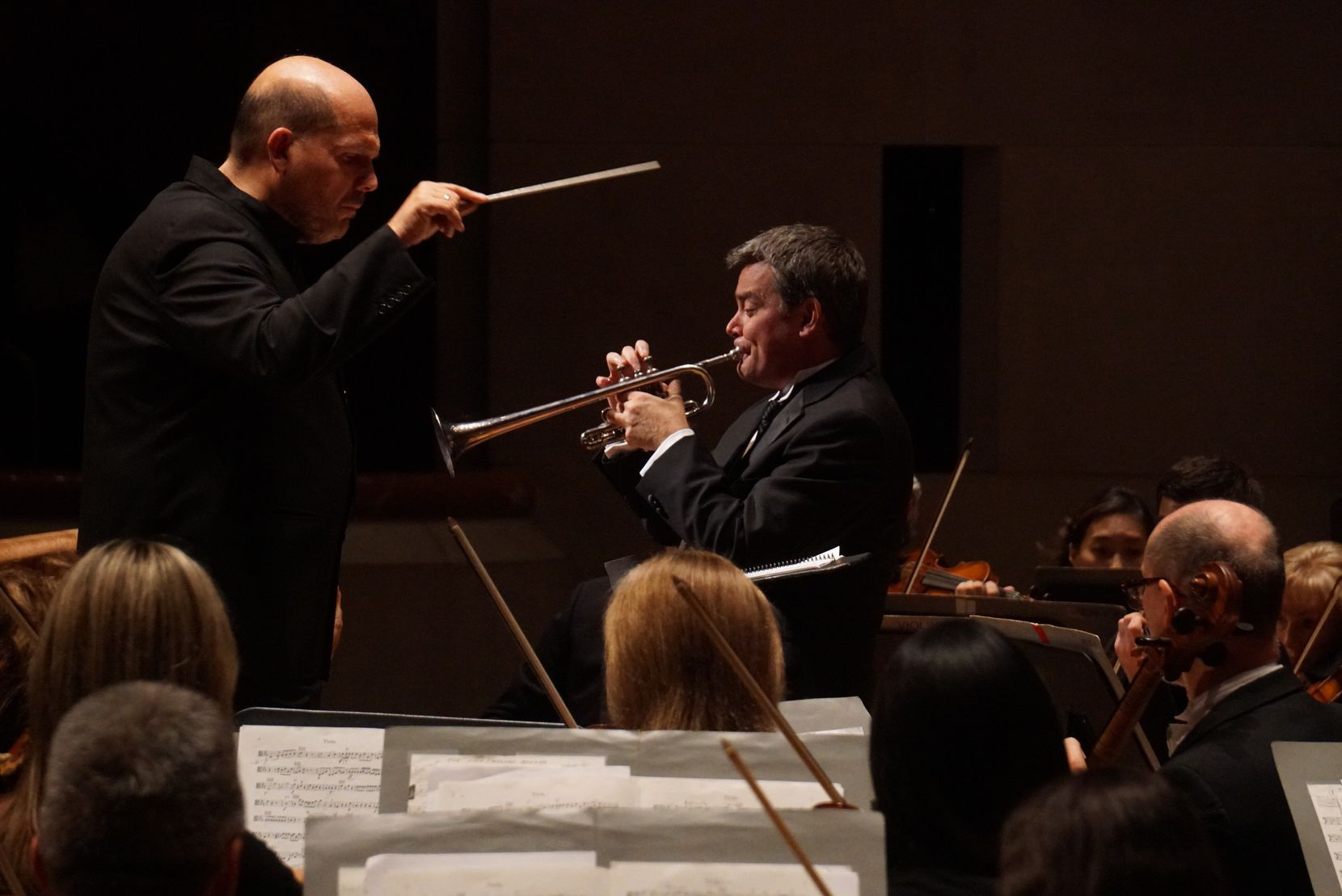 "Jaap van Zweden (left) remembered the late trumpet player Ryan Anthony as ""a fire and a light in my life."" They are shown performing with the Dallas Symphony Orchestra on Sept. 29, 2016."