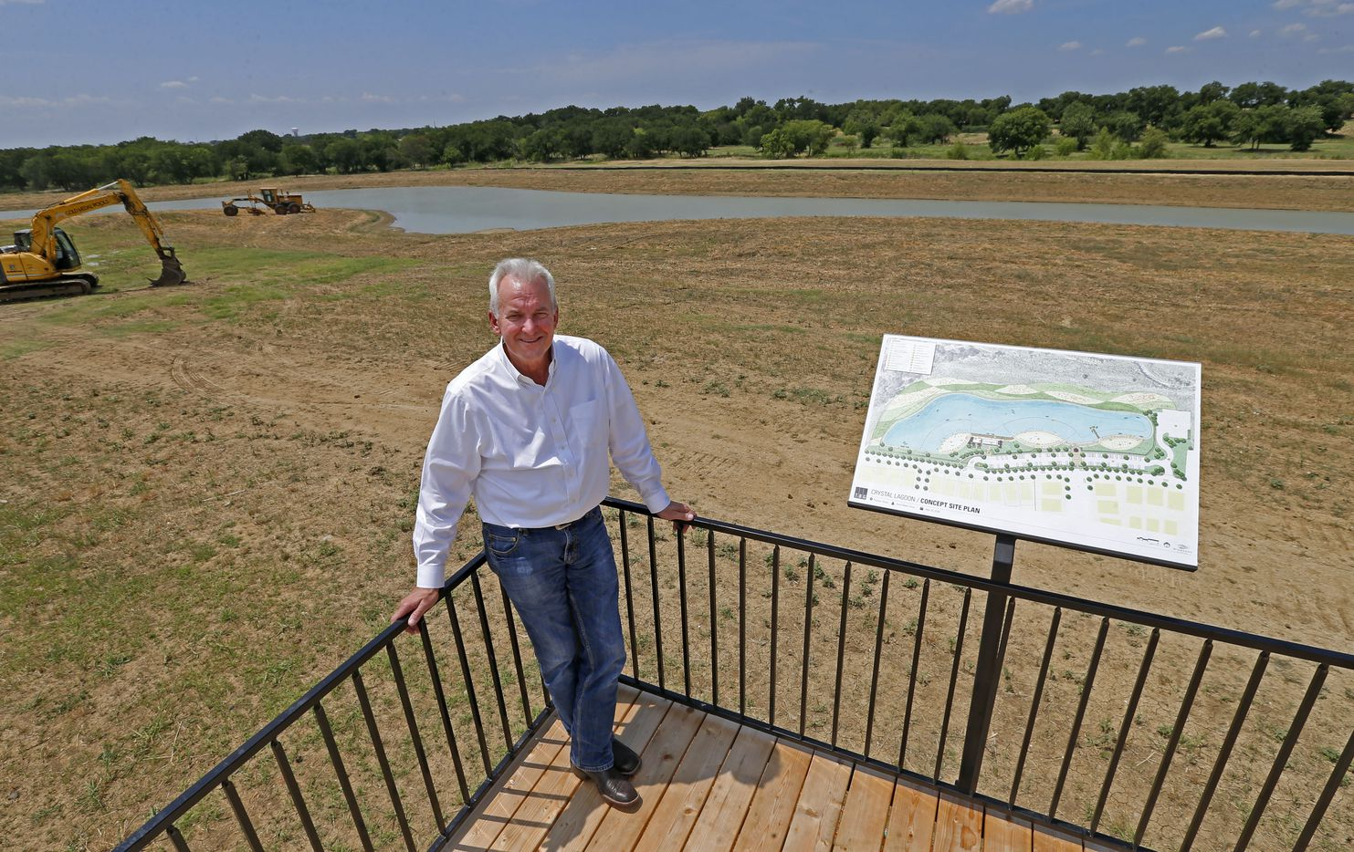 Developer Craig Martin poses for a photograph at a construction site of the new 5-acre crystal clear lagoon by Crystal Lagoons in the Windsong Ranch community in Prosper.