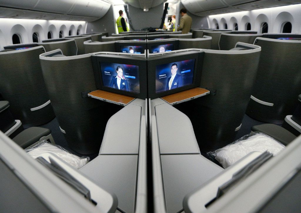 Business class seating in the American Airlines new 787-9 Dreamliner at DFW Airport on Nov. 3, 2016.  (Nathan Hunsinger/The Dallas Morning News)
