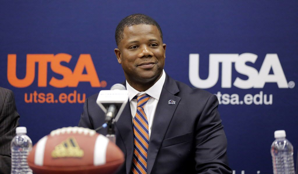 Frank Wilson is introduced as the new head football coach at UTSA during a news conference, Friday, Jan. 15, 2016, in San Antonio. (AP Photo/Eric Gay) ORG XMIT: OTK