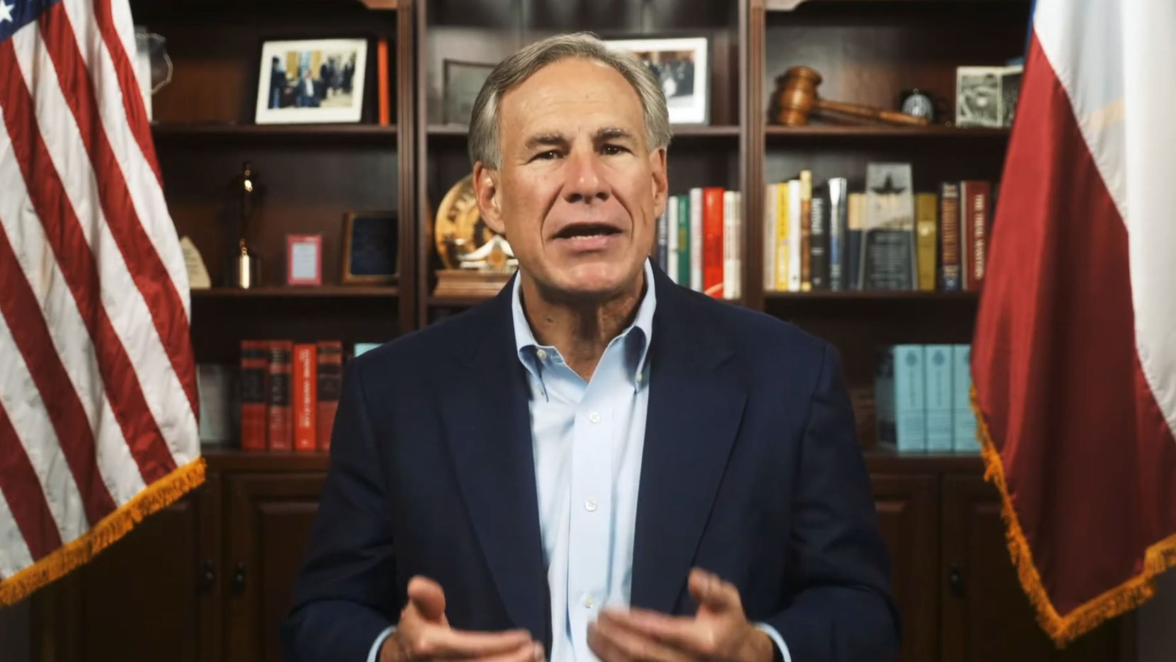 "In a video Texas Gov. Greg Abbott released on Wednesday, he urged residents and candidates, ""regardless of political party,"" to go to his campaign website and sign the ""Texas Back the Blue Pledge.""  ""Sign the pledge and post it on social media at 2 p.m. this Thursday, Sept. 10, using the hashtag #TexasBacksTheBlue to show your support for our brave law enforcement officers,"" the Republican governor implored. (Screenshot from Governor Greg Abbott video)"