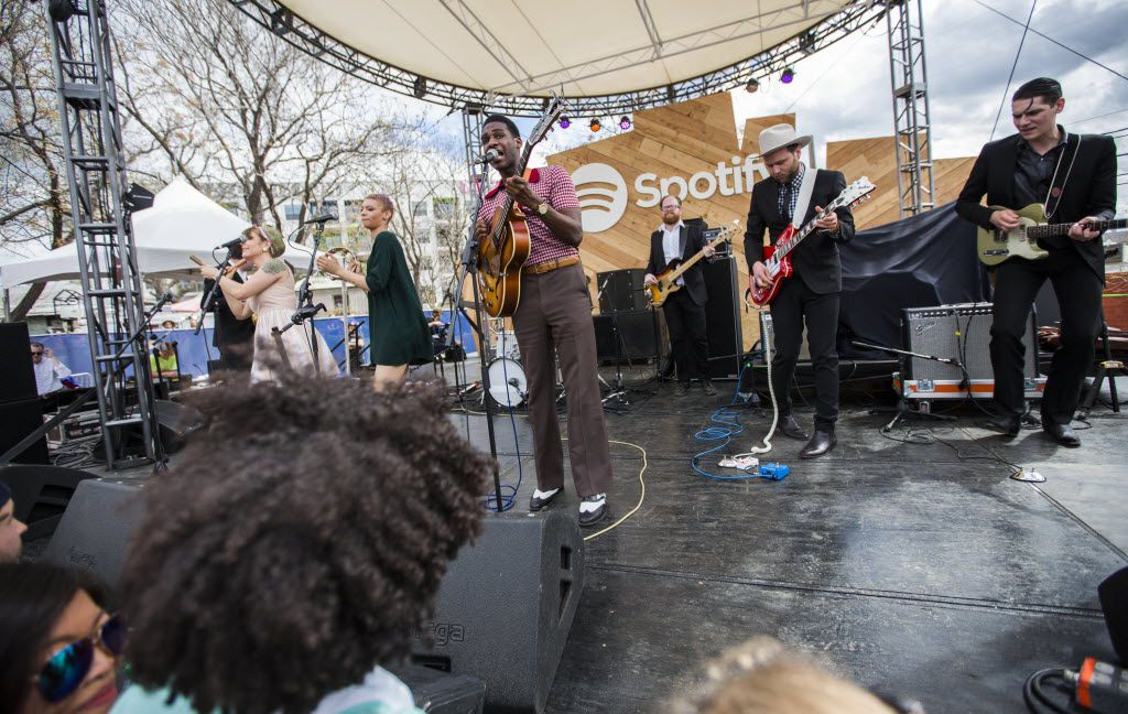Musician Leon Bridges performs at Spotify's day party during the SXSW music festival on Wednesday, March 18, 2015 at Spotify House on East Sixth Street in downtown Austin, Texas. (Ashley Landis/The Dallas Morning News)