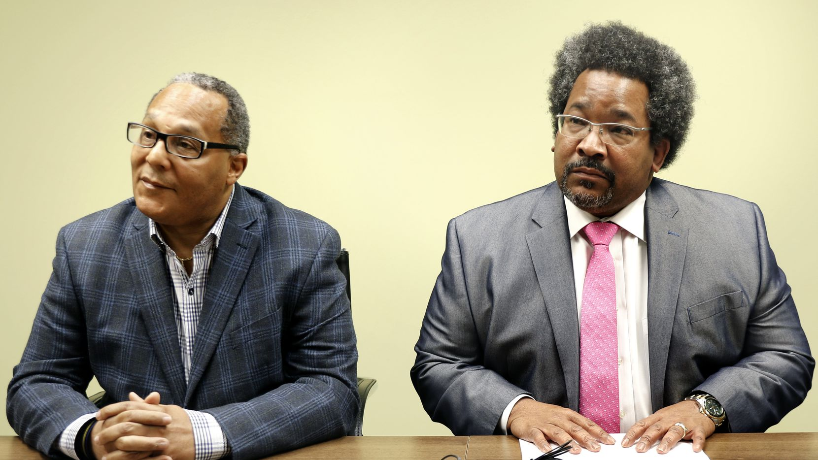 Kevin Felder (left) and his attorney, Russell Wilson, held a news conference Thursday about his indictment.