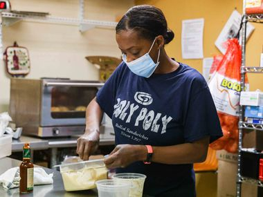 Yeronica Craddock works in sauce preparation at Roly Poly Sandwiches on Mockingbird Lane in Dallas. Craddock's friendly demeanor and knack for remembering personal details have made her a favorite of customers.