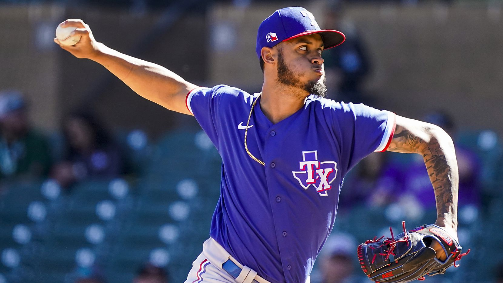 Rangers pitcher Jonathan Hernandez pitches during the fourth inning of a spring training game against the Colorado Rockies at Salt River Fields at Talking Stick on Wednesday, Feb. 26, 2020, in Scottsdale, Ariz.