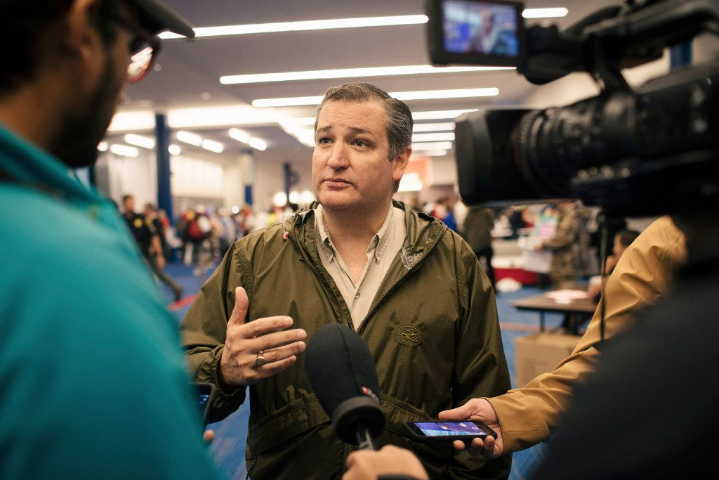 FILE -- Sen. Ted Cruz (R-Texas) talks to reporters at the George R. Brown Convention Center, which is sheltering Harvey evacuees, in Houston, Aug. 28, 2017. As Tropical Storm Harvey barrels down the Gulf Coast and talk of a disaster-relief bill begins, Republican lawmakers from Texas are rushing to defend their 2013 votes against spending $50.5 billion on Hurricane Sandy relief. (Alyssa Schukar/The New York Times)