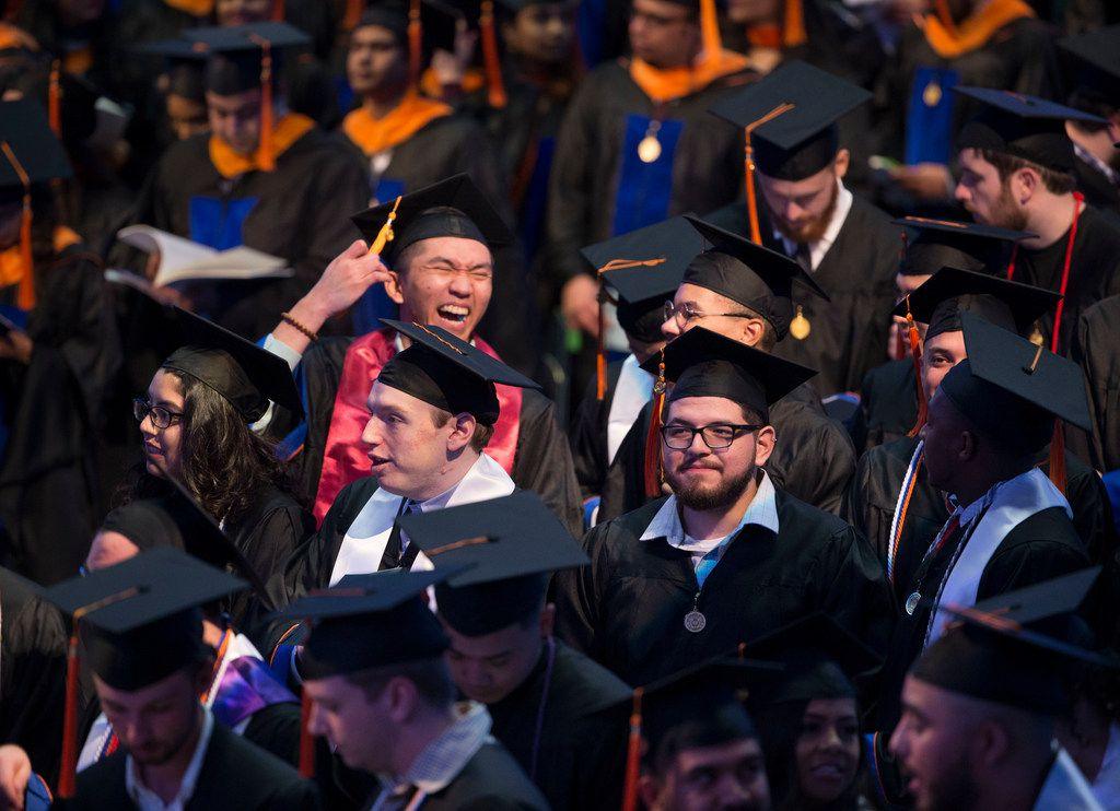 Students participate in the graduation ceremony for the University of Texas at Arlington's College of Engineering students at College Park Center in Arlington on Dec. 15, 2018. (Daniel Carde/The Dallas Morning News)