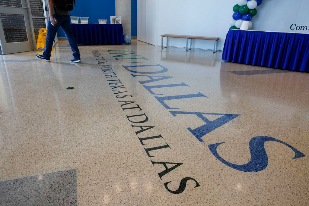 The floor inside the entryway of the new Student Center Building opened on the campus of UNT Dallas Monday, August 26,  2019. (Brian Elledge/Staff Photographer)