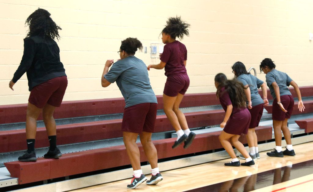 Students exercise during gym class at the International Leadership of Texas Keller-Saginaw High School on Monday, October 2, 2017 in Saginaw.  (David Woo/The Dallas Morning News) .