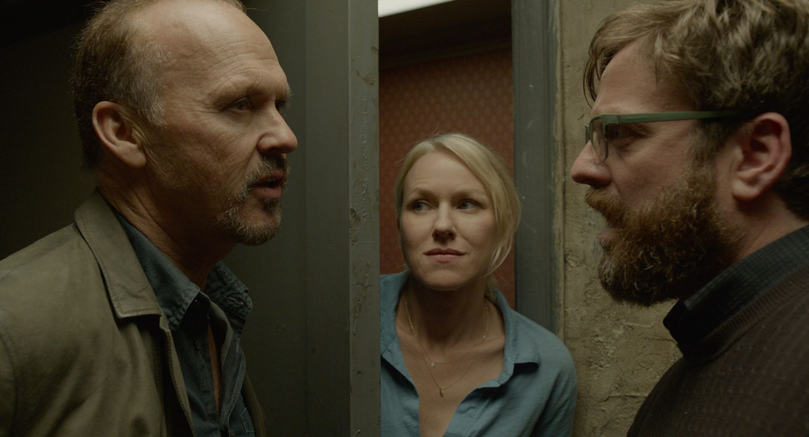 "Michael Keaton as Riggan, Naomi Watts as Lesley and Zach Galifianakis as Jake in ""Birdman."""