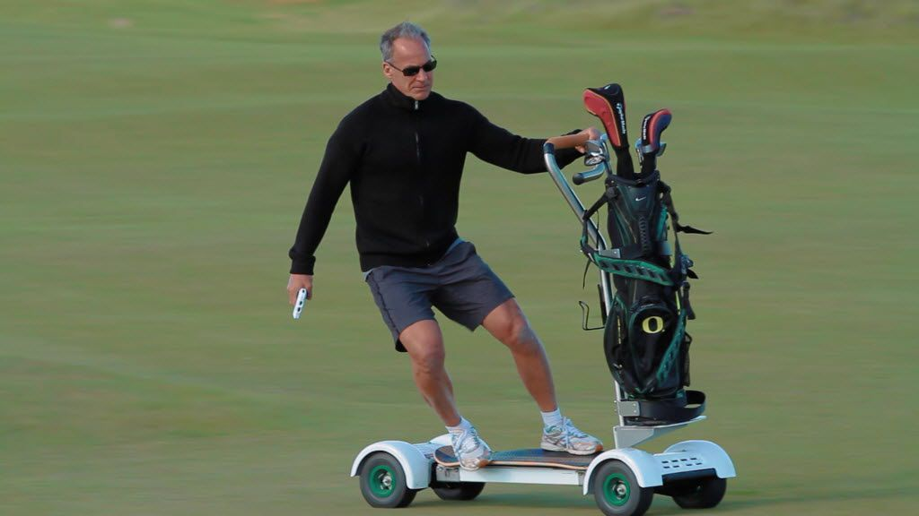 Hawks Creek Golf Club in Fort Worth will be the fifith golf course in North Texas to have the Golfboard available to rent for a round of golf. The Golfboard is an oversized motorized skateboard. 04302015xSPORTS