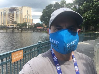 Mavericks insider Brad Townsend snaps a selfie from inside the NBA bubble at the Coronado Springs Resort in the Disney World complex in Lake Buena Vista, Fla. on Sunday, July 19, 2020. The day was Townsend's first day out and about after a week confined to his room and daily COVID-19 testing. Masks are required.