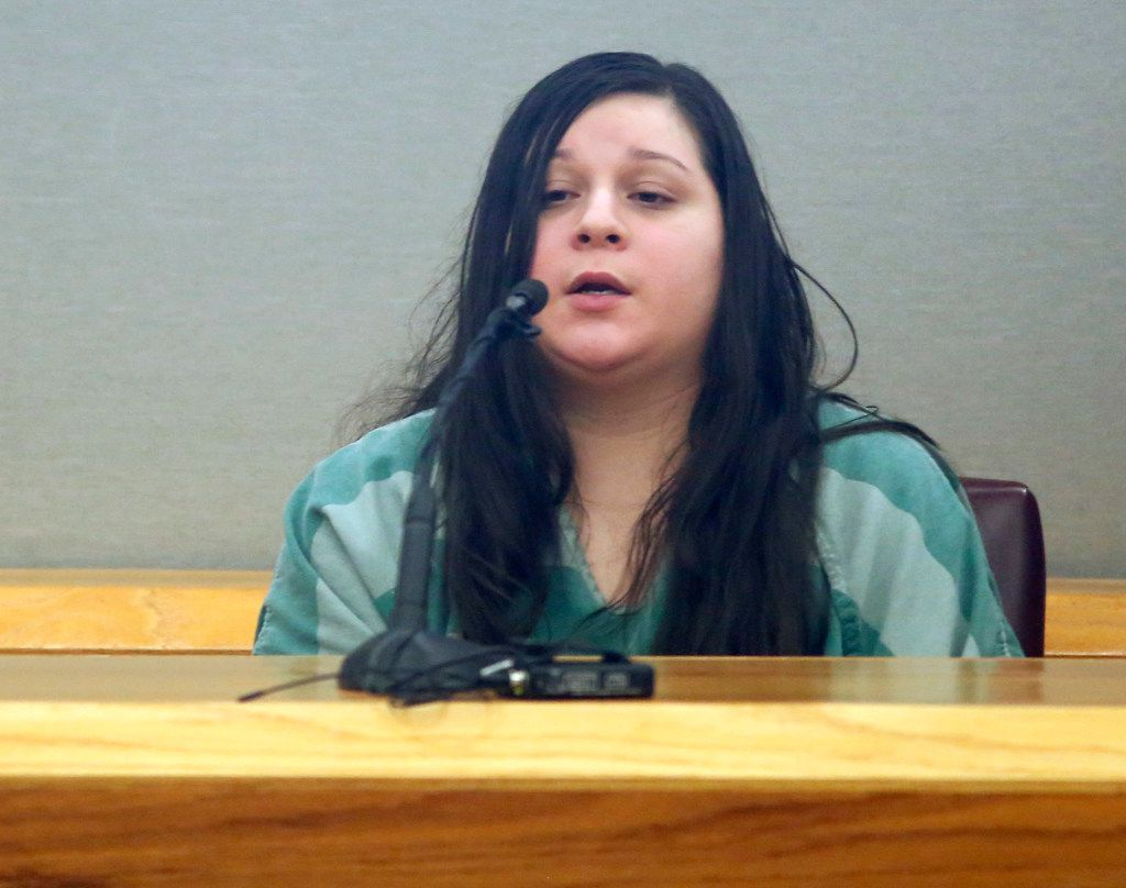 Crystal Cortes testifies Tuesday in the capital murder trial of Kristopher Love. Love is accused of being the triggerman in the 2015 slaying of pediatric dentist Kendra Hatcher. (Vernon Bryant/Staff Photographer)