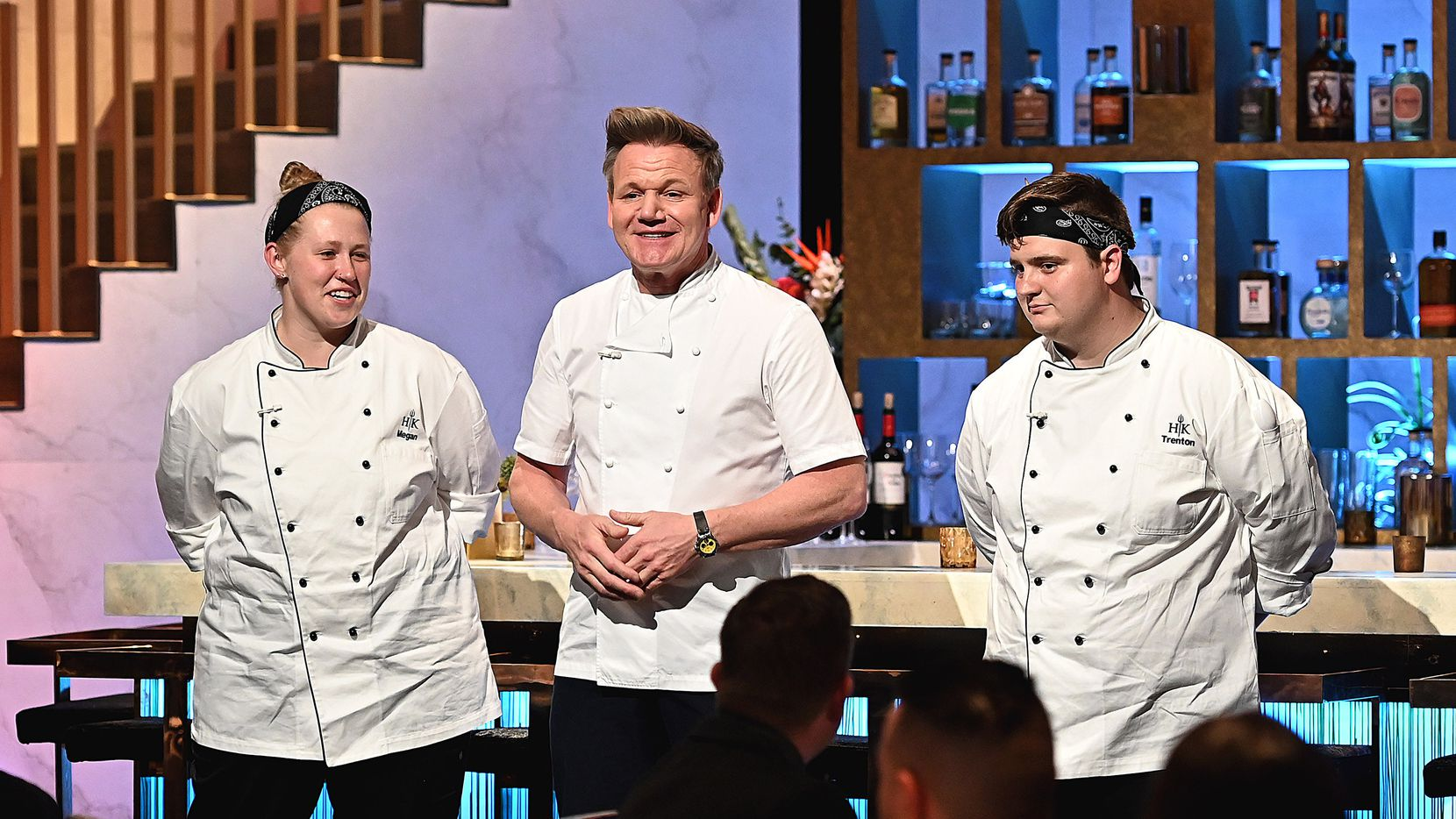 'Hell's Kitchen' contestant Megan Gill, on left, joined chef/host Gordon Ramsay and contestant Trenton Garvey in the season finale.