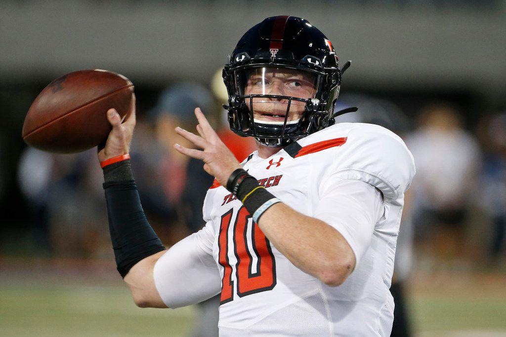 Texas Tech quarterback Alan Bowman (10) warms up prior to an NCAA college football game against Arizona, Saturday, Sept. 14, 2019, in Tucson, Ariz.
