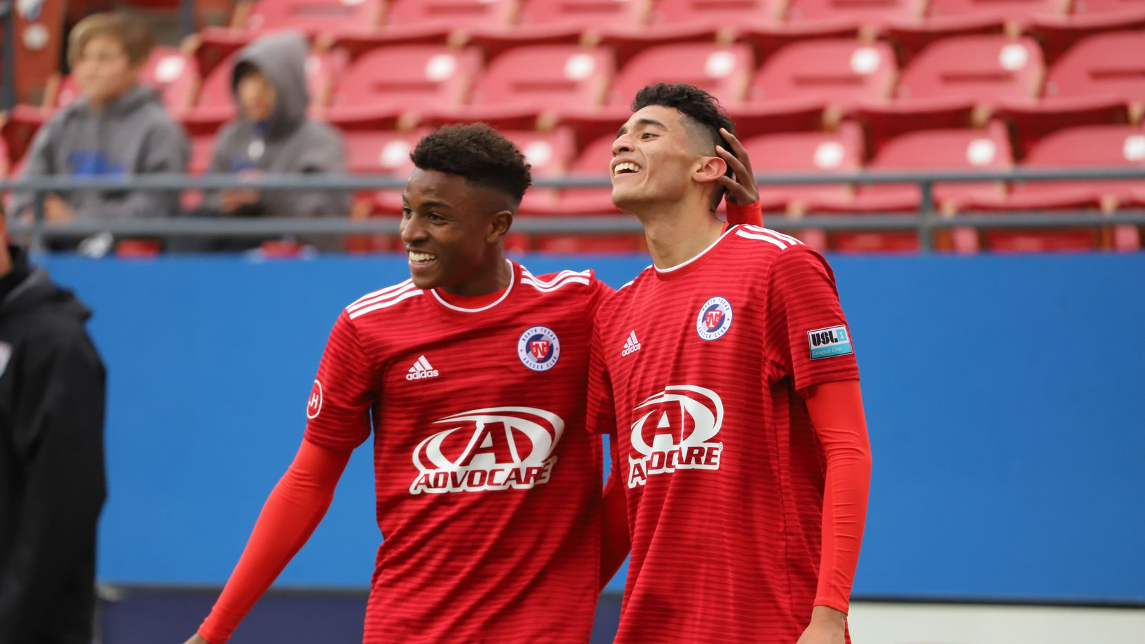 Ricardo Pepi and Dante Sealy celebrate a goal in North Texas Soccer Club's inaugural 3-2 victory over the Chattanooga Red Wolves