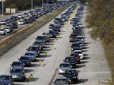 Thousands of vehicles lined up for food at Fair Park in Dallas on Nov. 14. Over half a million people in Dallas-Fort Worth didn't have enough to eat in the previous week, according to estimates from a recent pulse survey by the U.S. Census Bureau.