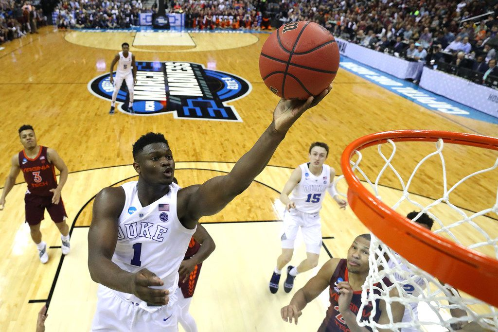 WASHINGTON, DC - MARCH 29: Zion Williamson #1 of the Duke Blue Devils shoots the ball against the Virginia Tech Hokies during the second half in the East Regional game of the 2019 NCAA Men's Basketball Tournament at Capital One Arena on March 29, 2019 in Washington, DC. (Photo by Patrick Smith/Getty Images)