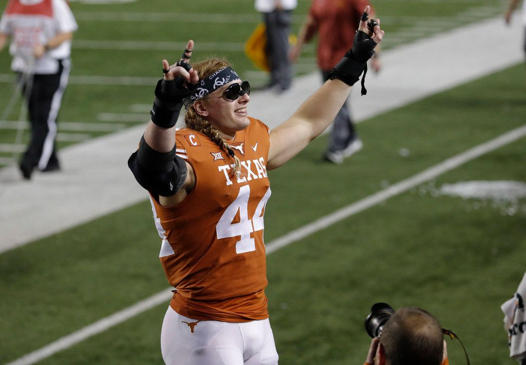 AUSTIN, TX - NOVEMBER 17:  Breckyn Hager #44 of the Texas Longhorns celebrates after the game against the Iowa State Cyclones at Darrell K Royal-Texas Memorial Stadium on November 17, 2018 in Austin, Texas.  (Photo by Tim Warner/Getty Images)