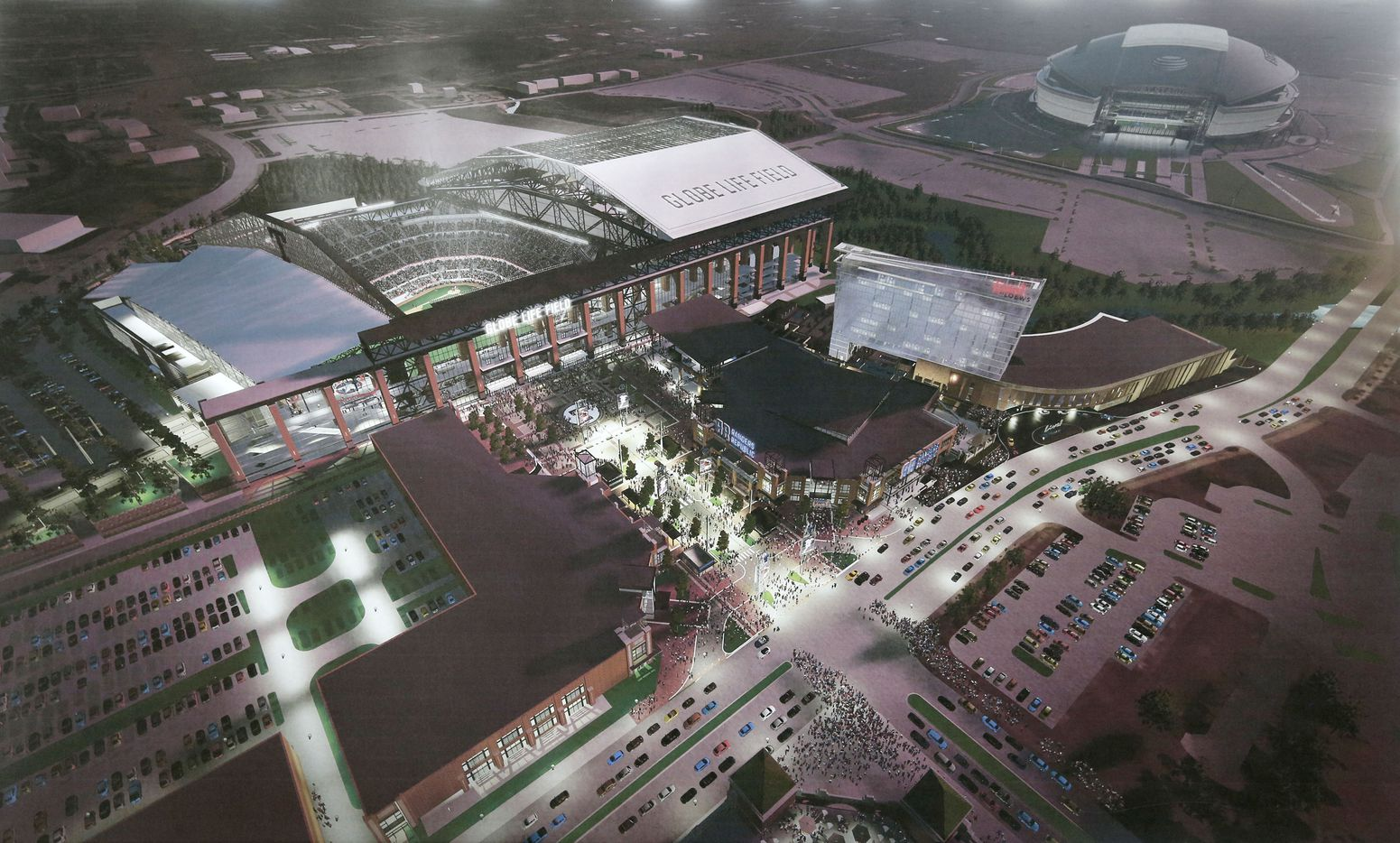 A rendering showing an aerial view of the new Globe Life Field with retractable roof and the Texas Live! entertainment complex adjacent to it.