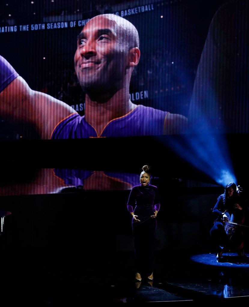 Musical artist Jennifer Hudson sings during a tribute to Kobe Bryant before the NBA All-Star 2020 game at United Center in Chicago on Sunday, February 16, 2020. (Vernon Bryant/The Dallas Morning News)
