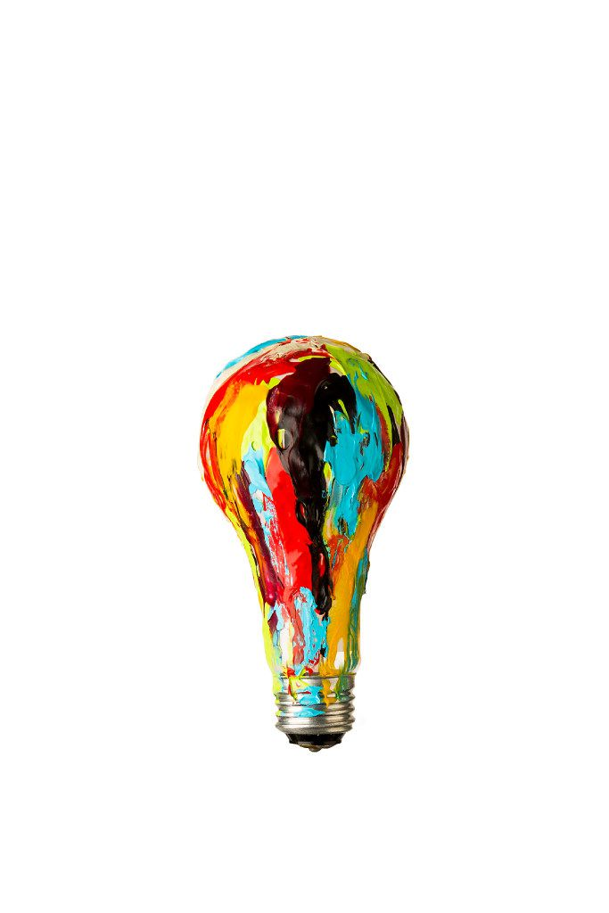 Photo illustration of a painted light bulb.
