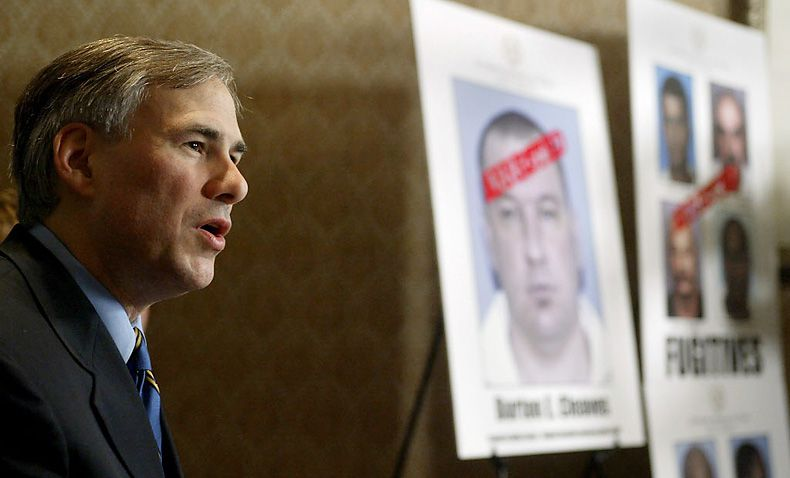 Greg Abbott announces the arrests of nine fugitive sex offenders by the Texas Attorney General's Office's newly formed Fugitive Unit at an October 2003 press conference in Dallas.