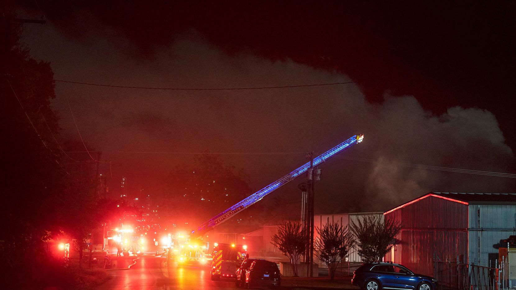 Firefighters battle a blaze at Greenberg Smoked Turkey on Nov. 6, 2020. An explosion and fire at the world famous company in Tyler brought an end to customers' orders for this year's Thanksgiving and Christmas seasons.