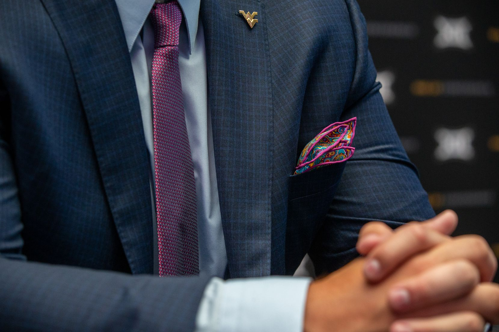 Colton McKivitz, offensive lineman for West Virginia University, sports a paisley pocket square during the Big 12 Conference Media Days event at the AT&T Stadium in Arlington on July 16, 2019.