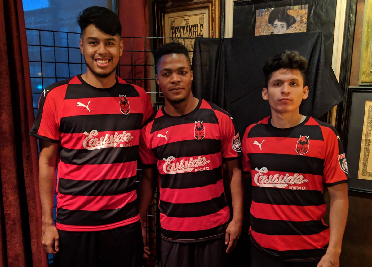 Denton Diablos players Abraham Hernandez, Shadrack Villa, and Abraham Escamilla model the club's new jersey they will wear during the team's inaugural NPSL season.  (4-24-19)